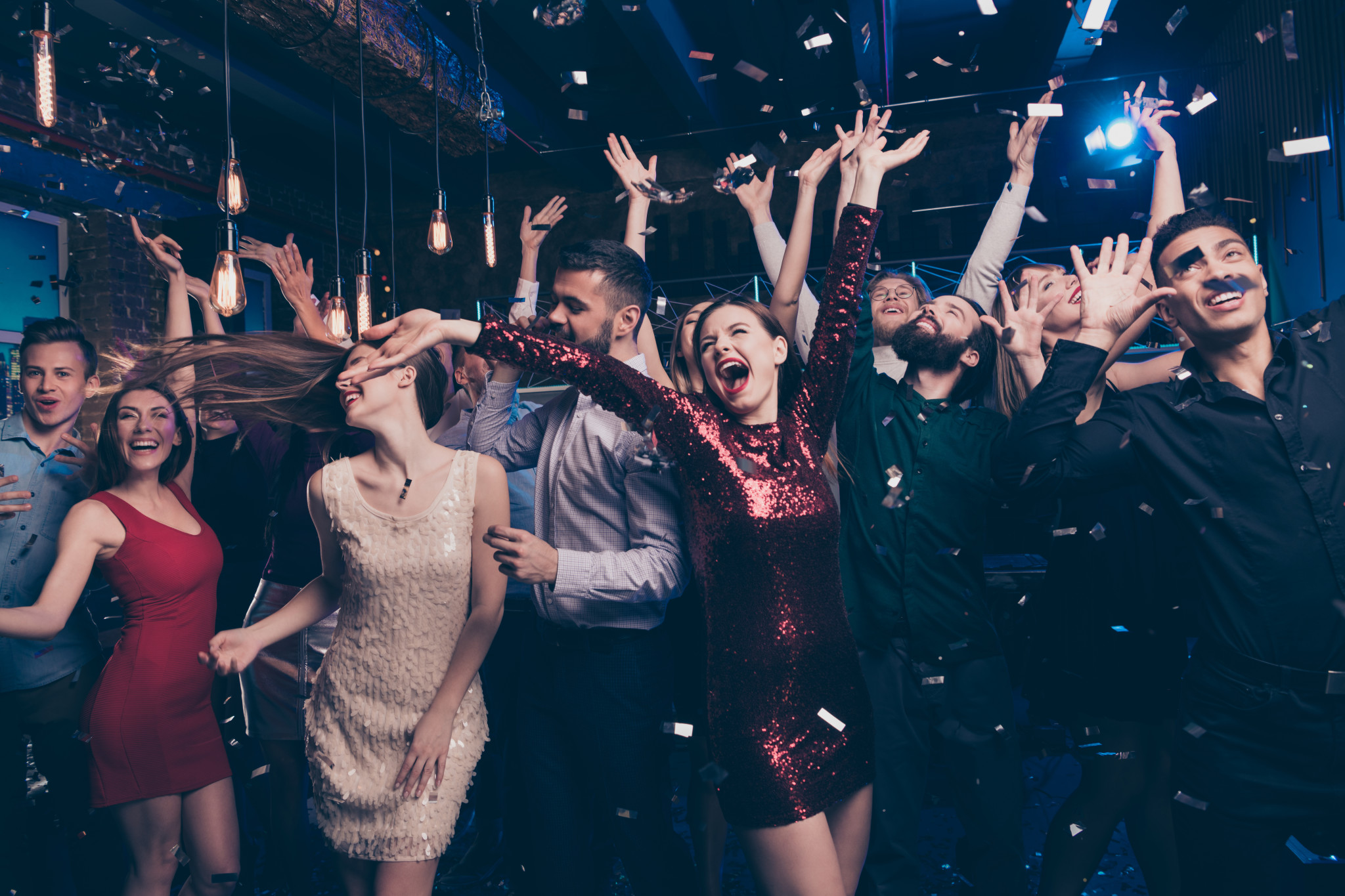 Portrait of cute charming elegant party makers hard formal wear formalwear, suit dress scream shout loud moving delighted indoors event
